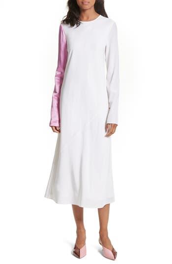 Tibi Colorblock Silk Sleeve Dress, White