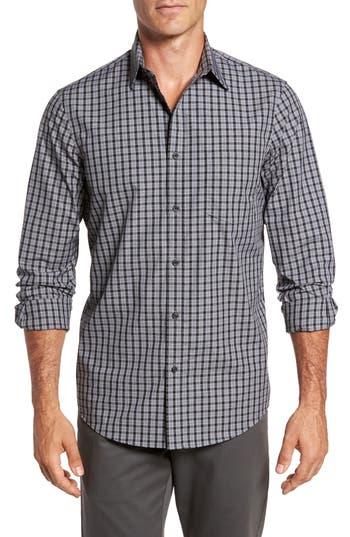 Big & Tall Nordstrom Shop Regular Fit Non-Iron Check Sport Shirt - Grey
