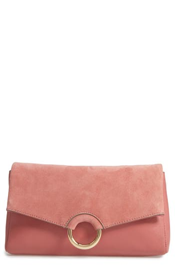 Vince Camuto Adiana Leather & Suede Clutch - Pink