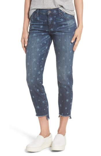 Kut From The Kloth Reese Uneven Hem Ankle Straight Jeans, Blue