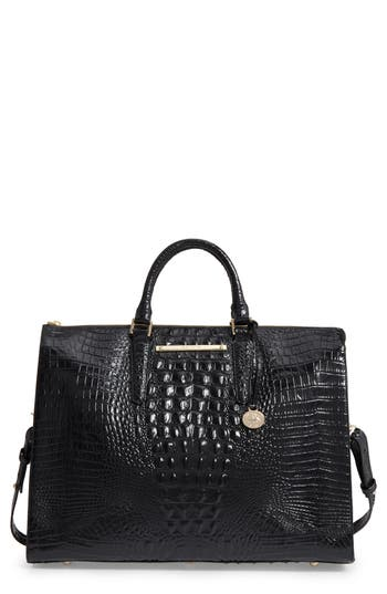 Brahmin Melbourne Croc Embossed Leather Business Tote - Black