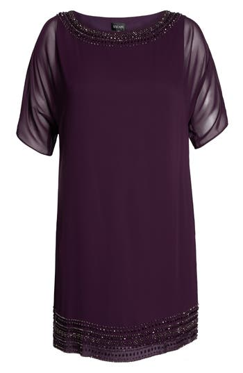 Plus Size Xscape Embellished Split Sleeve Chiffon Shift Dress, Purple