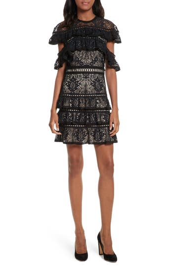 Alice + Olivia Jolie Tiered Ruffle Lace Dress, Black