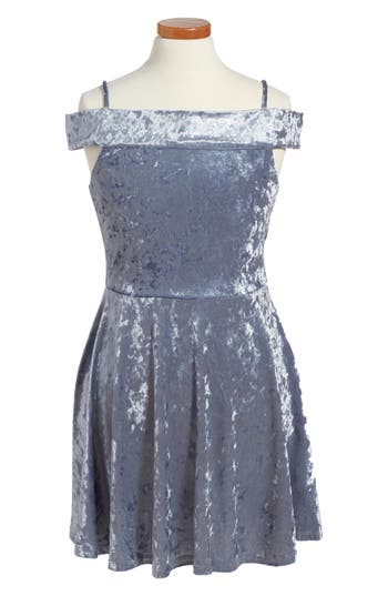 Girls Ava  Yelly Marilyn Velvet Skater Dress Size 7  Blue