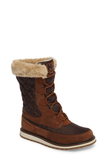 Helly Hansen Arosa Waterproof Boot With Faux Fur Trim, Brown