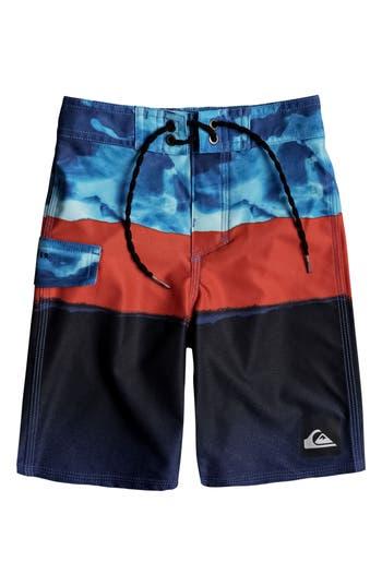 Boys Quiksilver Blocked Resin Camo Board Shorts Size 5  Blue