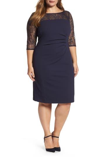 Plus Size Tahari Lace Illusion Sheath Dress, Blue
