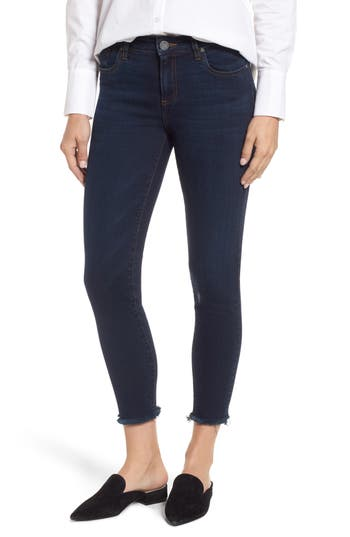 Kut From The Kloth Donna Frayed Skinny Crop Jeans, Blue