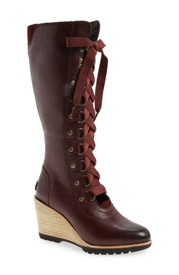 Sorel After Hours Lace Up Wedge Boot, Red