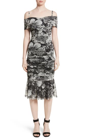 Fuzzi Print Tulle Ruched Off The Shoulder Dress, Black
