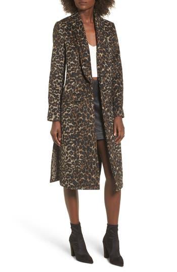 Women's Leith Longline Leopard Print Coat, Size X-Small - Black