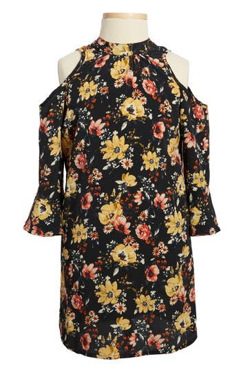 Girls Zoe And Rose Floral Print Cold Shoulder Dress Size S (78)  Black
