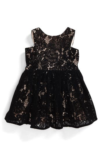 Toddler Girls Bardot Junior Flocked Lace Dress Size 912M US  0 AUS  Black