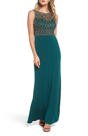 Adrianna Papell Beaded Bodice Column Gown, Green