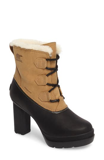 Sorel Dacie Genuine Shearling Cuff Waterproof Boot- Beige