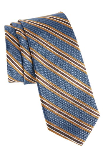 Men's Nordstrom Men's Shop Curtis Stripe Silk Tie, Size Regular - Metallic