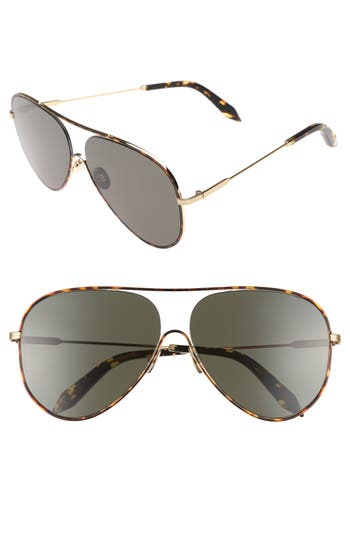 Victoria Beckham Loop 62Mm Oversize Aviator Sunglasses - Forest Green