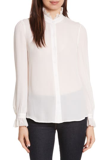 Womens LAgence Carla Silk Blouse Size Small  Ivory