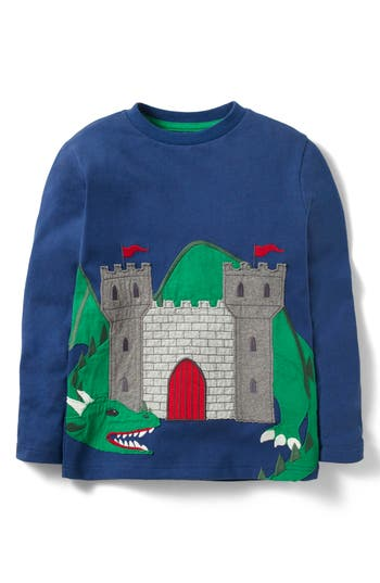 Boy's Mini Boden Castle & Dragon Applique T-Shirt, Size 4-5Y - Blue