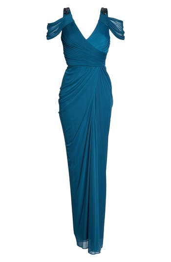 Adrianna Papell Cold Shoulder Gown, Blue