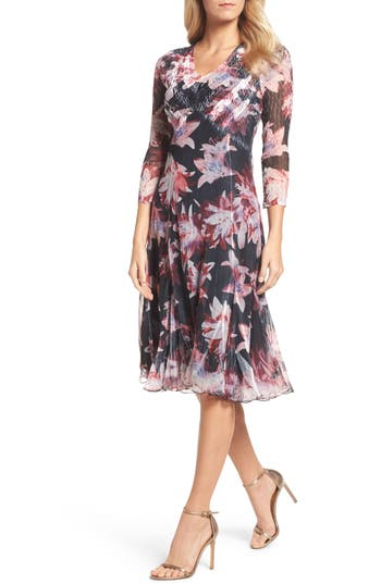 Komarov Print Chiffon A-Line Dress, Black