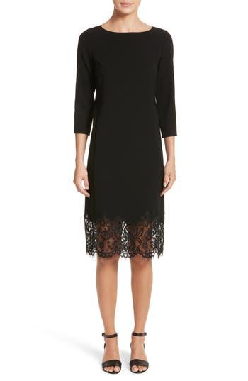 Lafayette 148 New York Mya Lace Hem Dress, Size Petite - Black