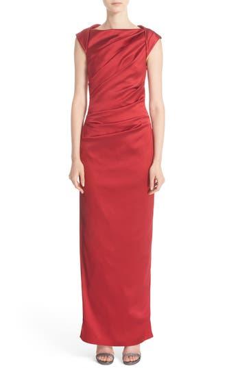 Talbot Runhof Bateau Neck Stretch Satin Column Gown, Red