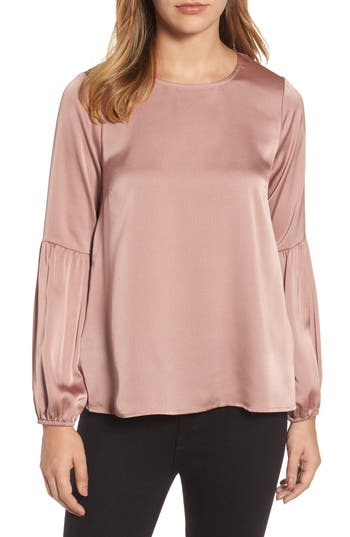 Women's Bobeau Bubble Sleeve Satin Top, Size XX-Small - Pink