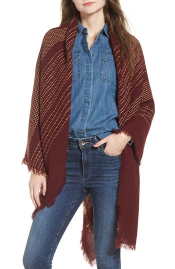Women's Sole Society Textured Stripe Blanket Scarf, Size One Size - Burgundy