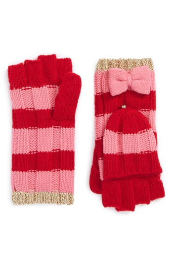 Kate Spade New York Stripe Convertible Knit Mittens, Size One Size - Red