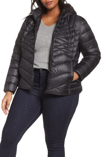 Plus Size Halogen Hooded Down Blend Puffer Jacket, Black