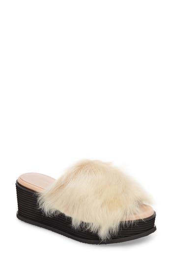 Taryn Rose Pearla Genuine Shearling Platform Slide Sandal, Beige