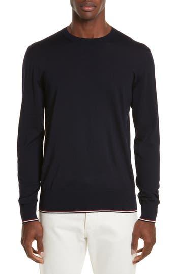 Moncler Virgin Wool Crewneck Sweater, Blue