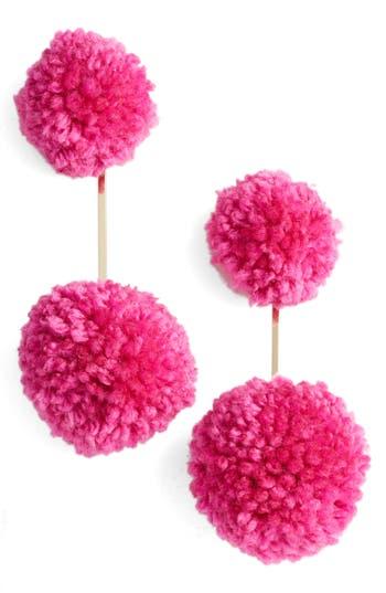 Women's Tuleste Yarn Double Pompom Earrings