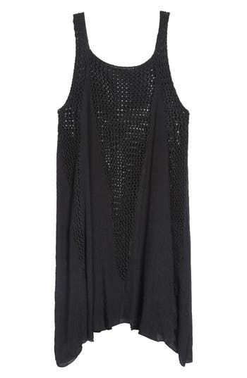 Elan Crochet Inset Cover-Up Dress, Black