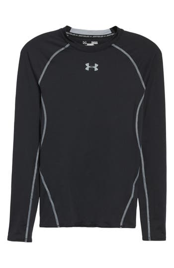 Under Armour Heatgear Compression Fit Long Sleeve T-Shirt, Black
