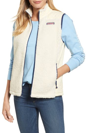 Women's Vineyard Vines Quilted Fleece Vest, Size Small - White