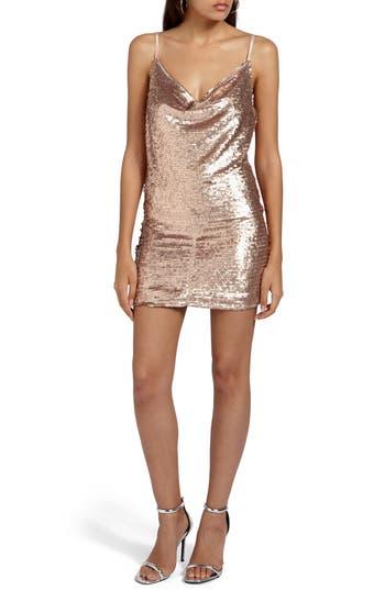 Missguided Cami Cowl Neck Sequin Minidress, US / 4 UK - Beige