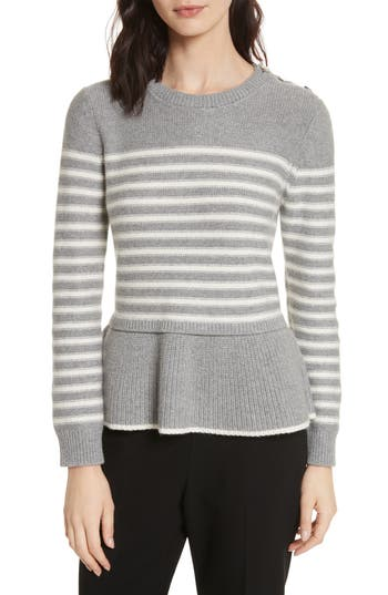 Women's Kate Spade New York Stripe Peplum Sweater, Size X-Small - Grey