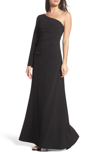 Vince Camuto Ruched One-Shoulder Crepe Gown, Black