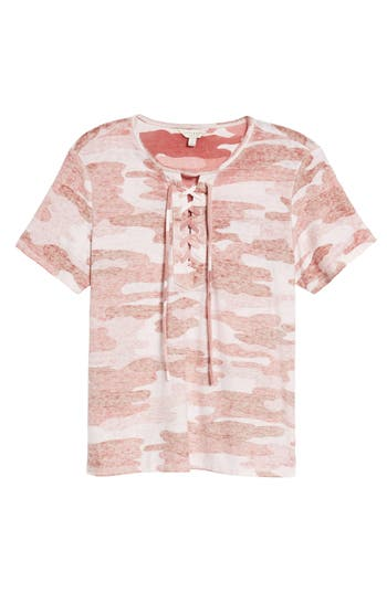 Lucky Brand Lace-Up Camo Tee, Pink