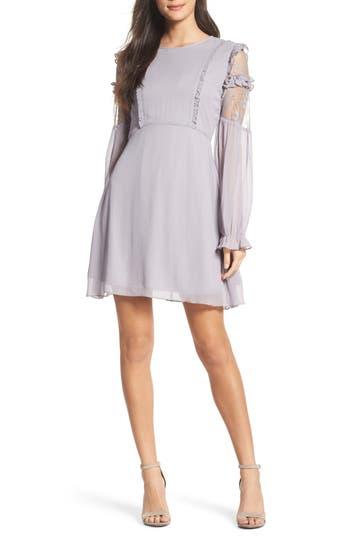 Nsr Lace & Chiffon Dress, Grey