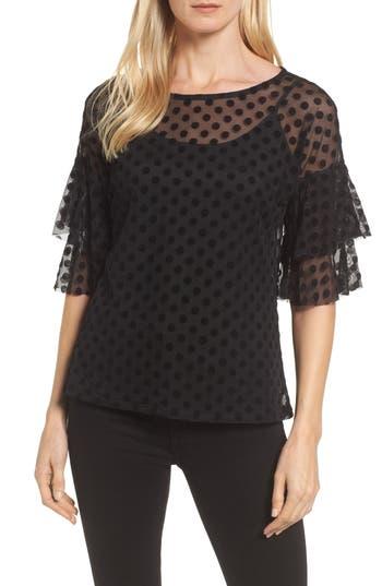 Women's Bobeau Ruffle Sleeve Flocked Dot Top, Size X-Small - Black