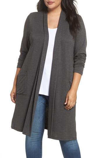 Plus Size Women's Bobeau Two-Pocket Stretch Cardigan, Size 1X - Grey