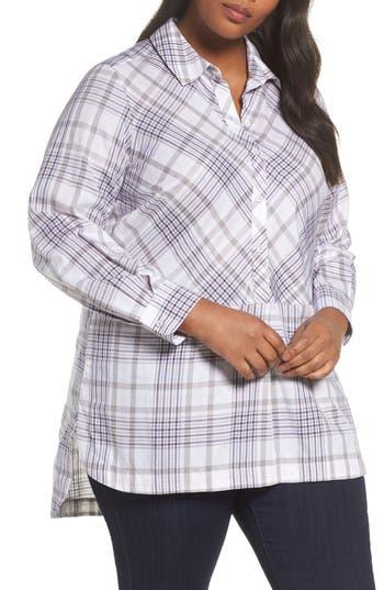 Plus Size Foxcroft Maddy Winter Plaid Shirt, Grey