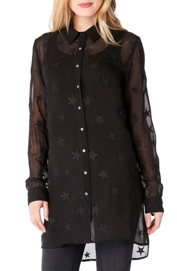 Michael Stars Star Embroidered Button-Up Shirt, Black