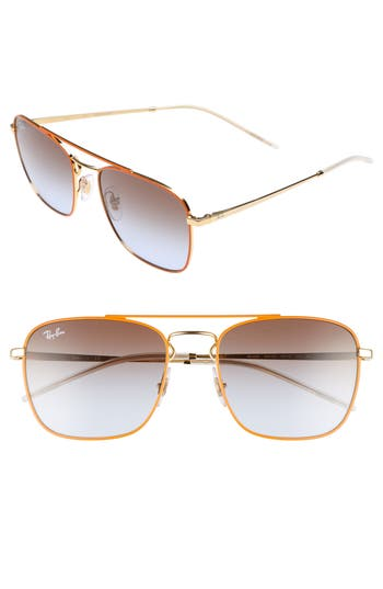 Ray-Ban Youngster Double Bridge 55Mm Sunglasses - Gold/ Orange