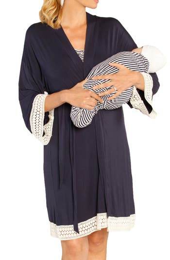 Angel Maternity Nursing Dress, Robe & Baby Blanket Pouch Set