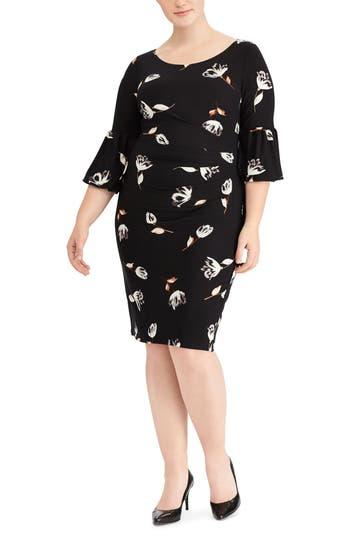 Plus Size Lauren Ralph Lauren Joelle Edzell Floral Dress, Black