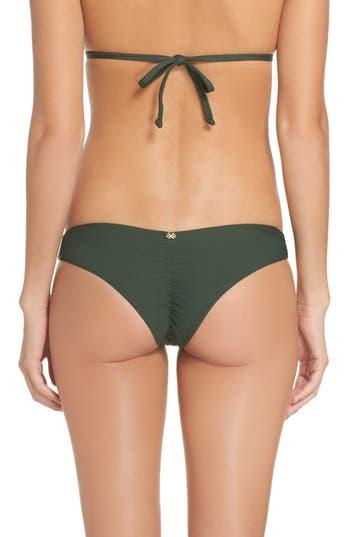 Pilyq Ruched Bikini Bottoms, Green